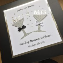 Keepsake box wedding glitter glasses Mr & Mrs