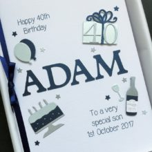 Mens A5 name and birthday decorations navy
