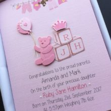 New baby blocks initials letters pink