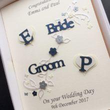 Wedding bride & groom with initial hearts navy