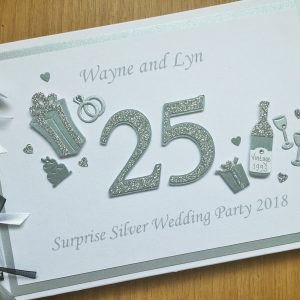 Guest book anniversary decorated number silver