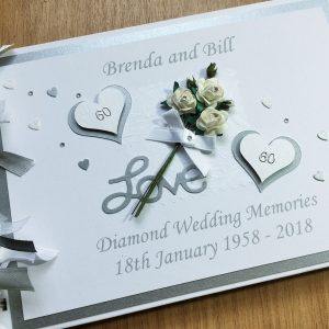 Guest book anniversary flowers & hearts A5