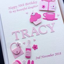 Womens A5 Name Birthday Embellishments Pink