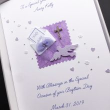 Christening bible in envelope purple