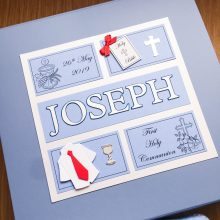 Keepsake box communion boys frames with shirt & name blue on blue