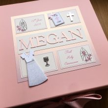 Keepsake box communion girls frames with dress & name ivory & pink