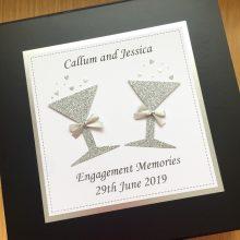 Keepsake box engagement glitter glasses shown silver on black