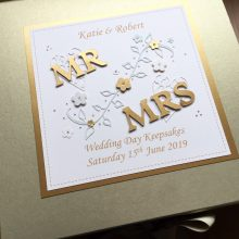 Keepsake box wedding Mr & Mrs with flowers gold