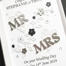 Wedding lace hearts Mr & Mrs silver
