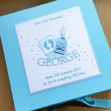 Keepsake box childrens footprints teddy label and name